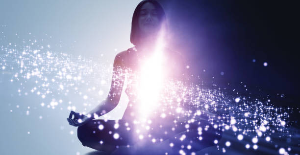 Mindfulness meditation concept. Meditating young woman. Yoga. Concentration. stock photo