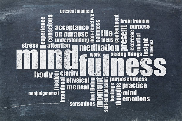 mindfulness word cloud on blackboard - mindfulness stock photos and pictures