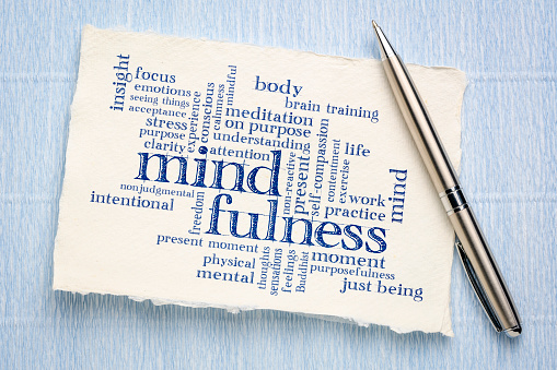 istock mindfulness word cloud on handmade paper 1146084158