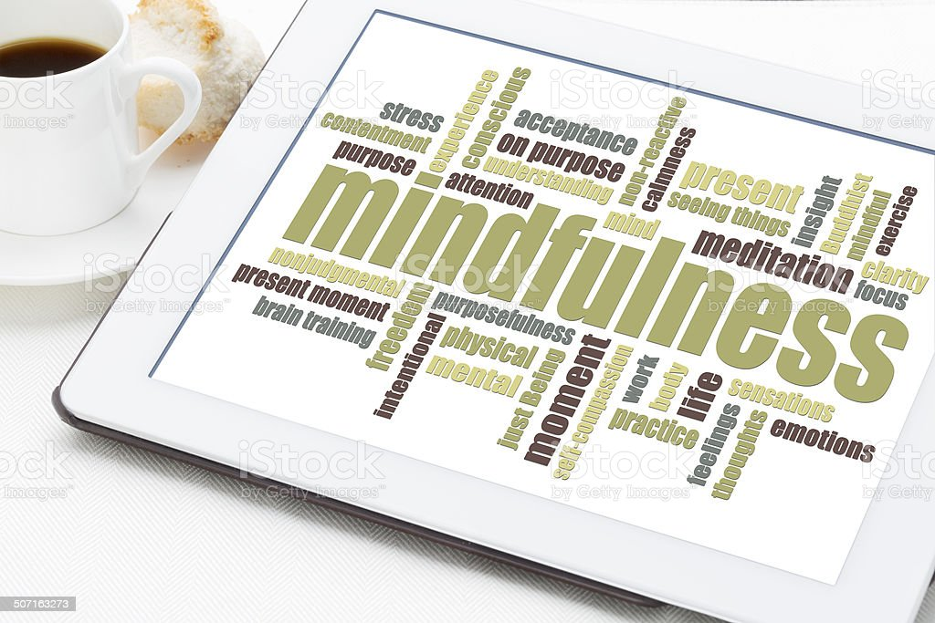 mindfulness word cloud stock photo