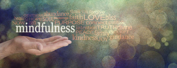 mindfulness word cloud - mindfulness stock photos and pictures