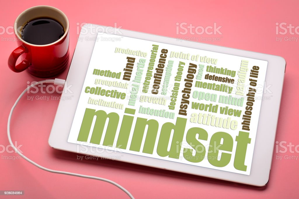 mindset word cloud on digital tablet stock photo