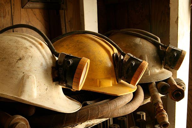 Mine Helmets stock photo