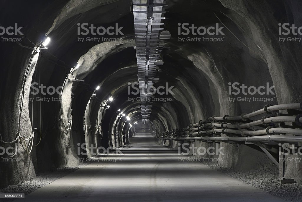 Mine incline with concrete road stock photo