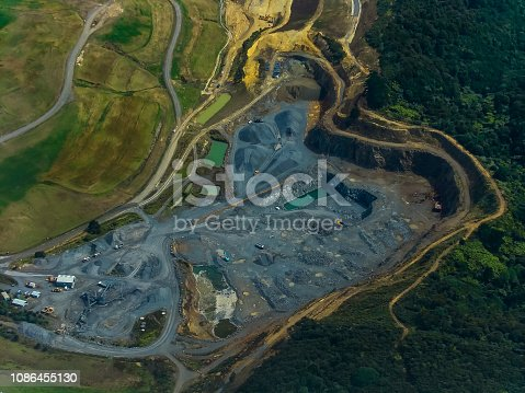Aerial View of Opencast Mining Quarry with Lots of Machinery at Work - View from Above. This Area Has Been Mined for Copper, Silver, Gold, and Other Minerals, Australia