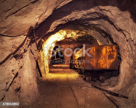 Old, rusty mining machine deep underground in a lead and zinc mine (Mezica, Slovenia).