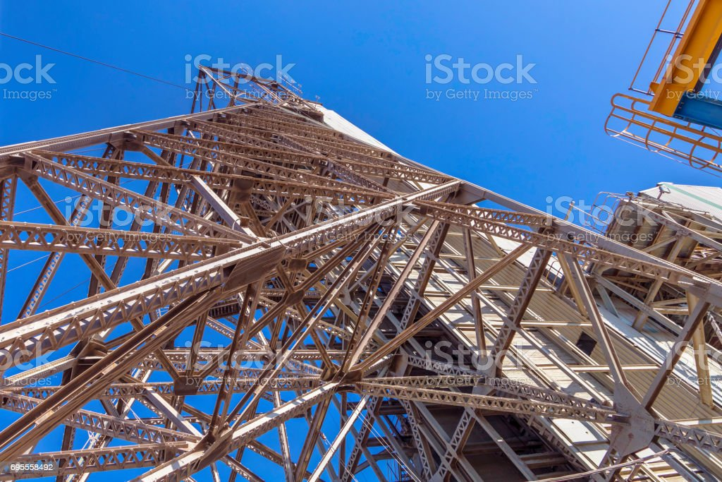 Mine shaft tower seen from below stock photo