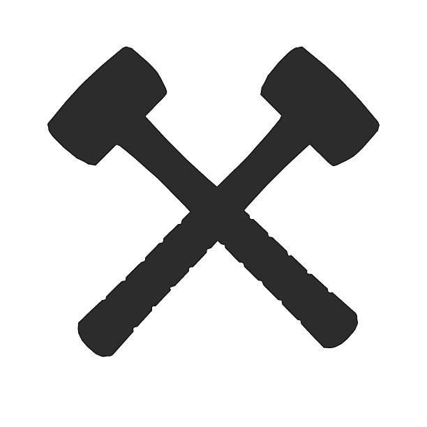 Royalty Free Silhouette Of Crossed Hammer Symbol Pictures Images