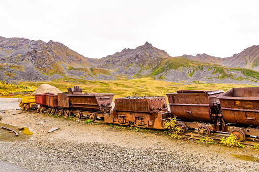 An Old Mine Train Artifact in Independence Mine Sits Nestled In The Mountains Of Hatcher Pass, Alaska.