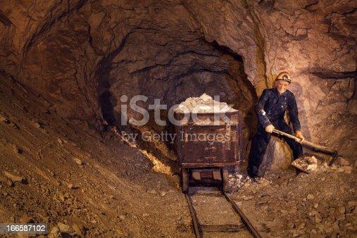 Exhibited miner figure deep underground in a lead mine. (Mine Mezica, Slovenia)