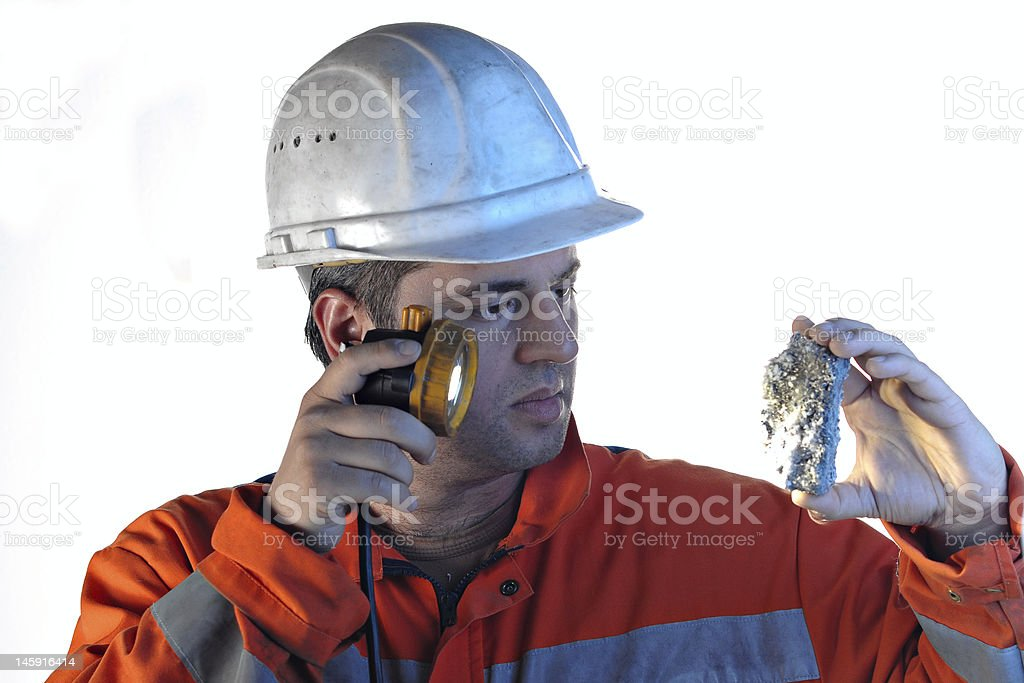 mine worker with rock royalty-free stock photo