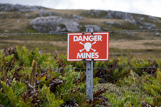 Minefield Sign, Falkland Islands stock photo