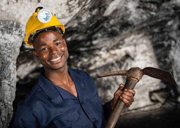 Miner at the mine stock photo