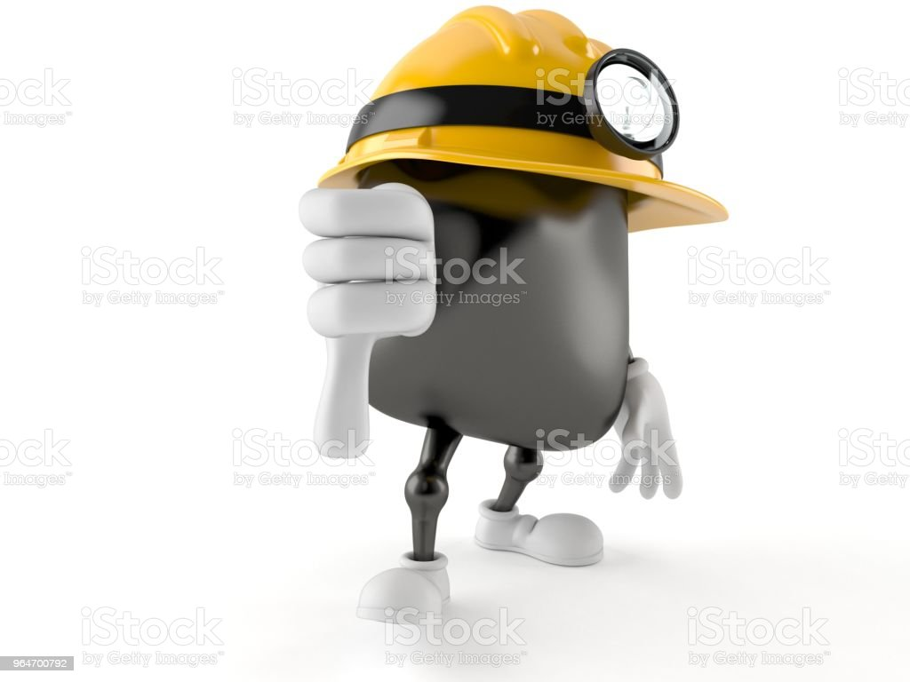 Miner character with thumbs down royalty-free stock photo