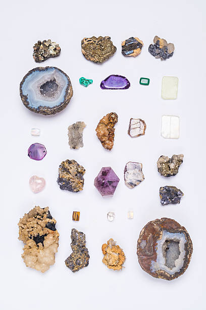 mineral and gemstone collection - rose quartz stock photos and pictures