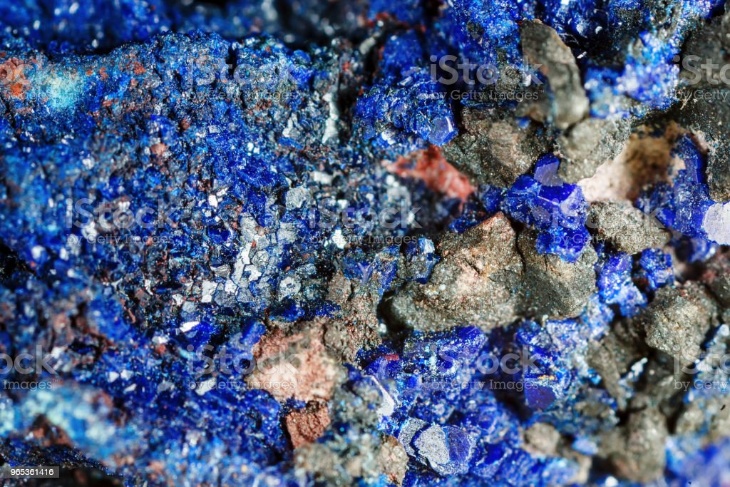Mineral azurite. The texture of the mineral. Macro shooting of natural gemstone. The raw mineral. Abstract background royalty-free stock photo