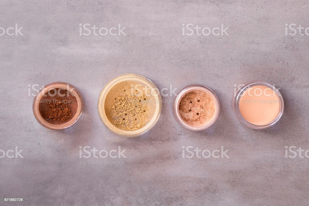Mineral cosmeticts beauty makeup kit stock photo
