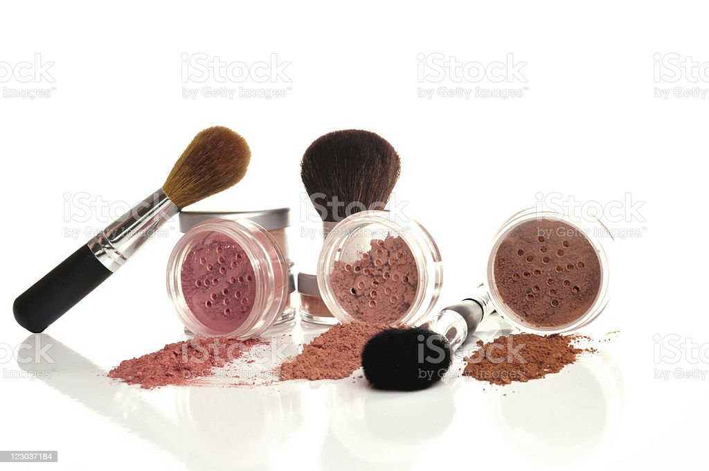 Mineral Makeup and cosmetic brushes royalty-free stock photo