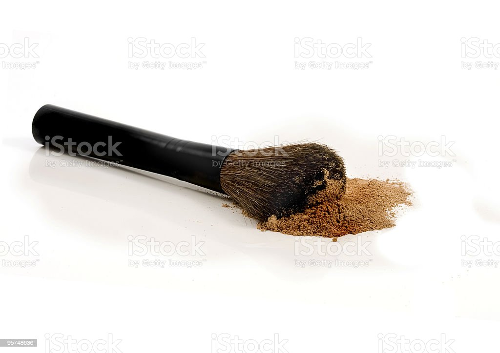Mineral make-up with black brush royalty-free stock photo