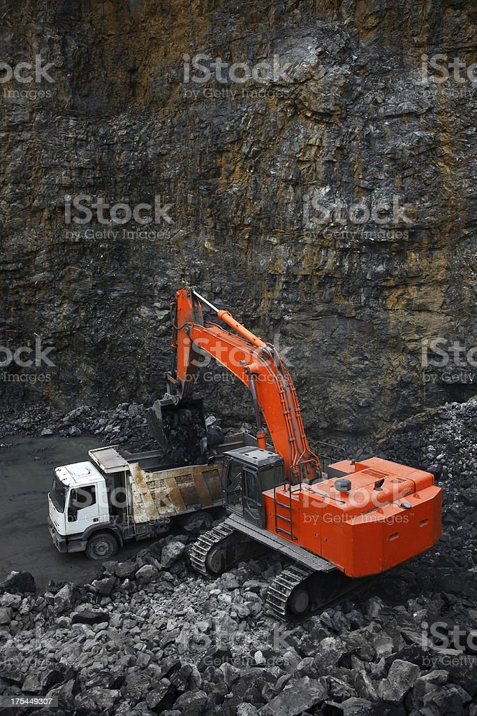 Mineral mining with machinery royalty-free stock photo