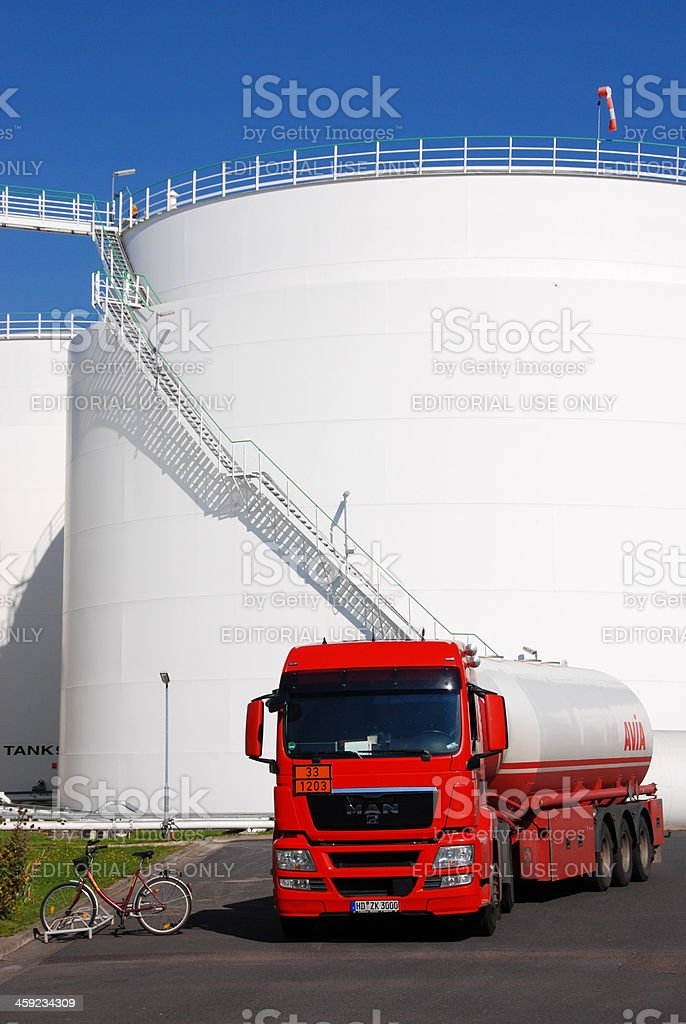 Mineral oil storage tank farm royalty-free stock photo