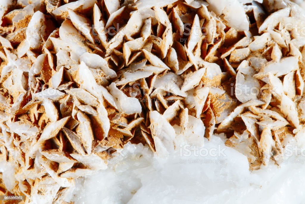 Mineral quartz with calcite. The texture of the mineral. Macro shooting of natural gemstone. The raw mineral. Abstract background royalty-free stock photo
