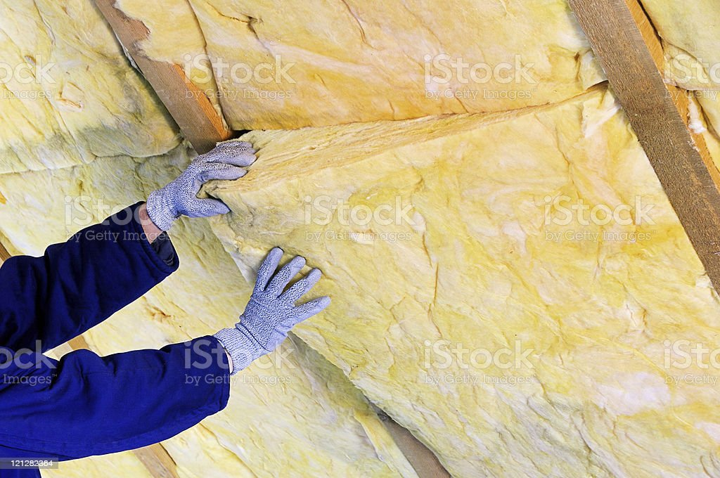 mineral rock wool stock photo