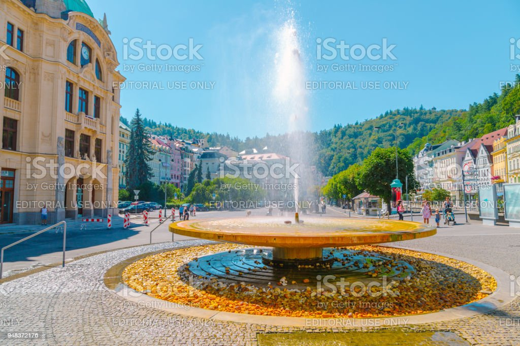 Mineral spring fountain in Karlovy Vary, Czech stock photo