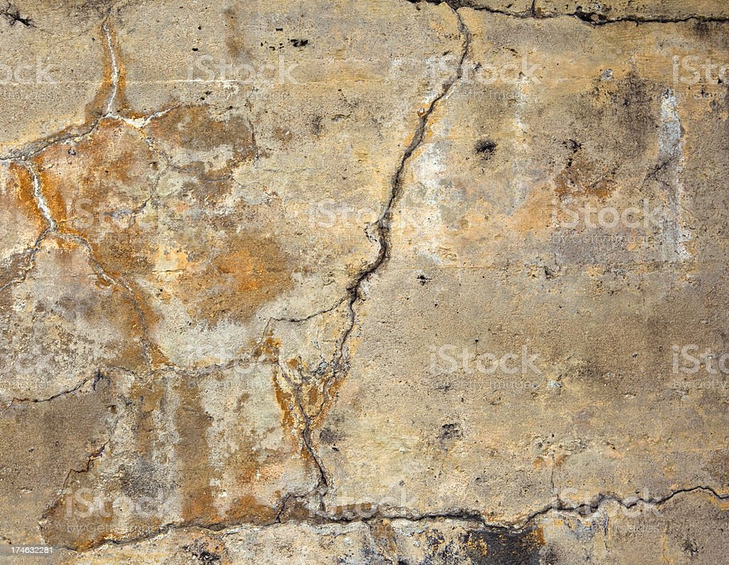 Mineral Stained Grungy Concrete Wall royalty-free stock photo