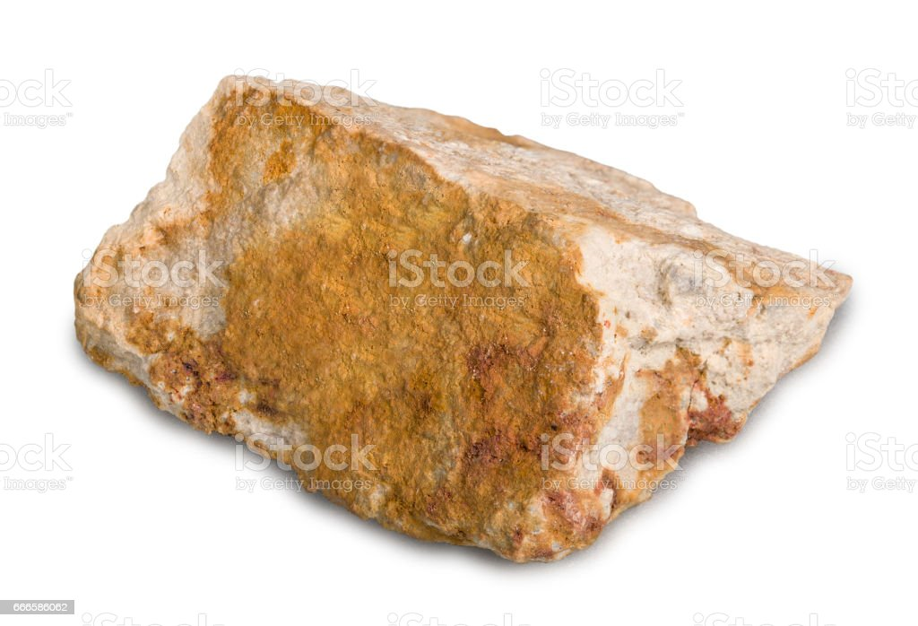 Mineral stone corundum isolated on white background. Corundum is a crystalline form of aluminium oxide containing iron, titanium, vanadium and chromium. stock photo