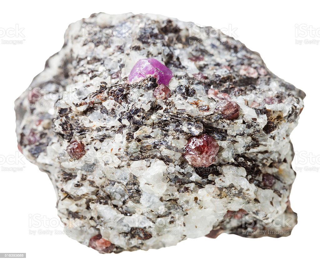 mineral stone with Corundum crystals isolated stock photo