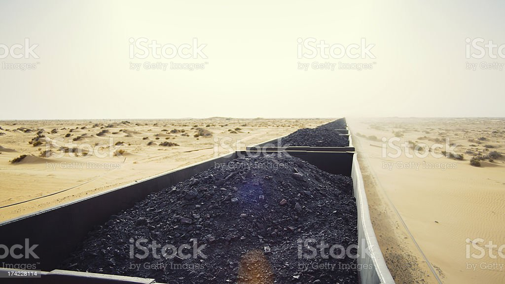 Mineral train in the desert stock photo
