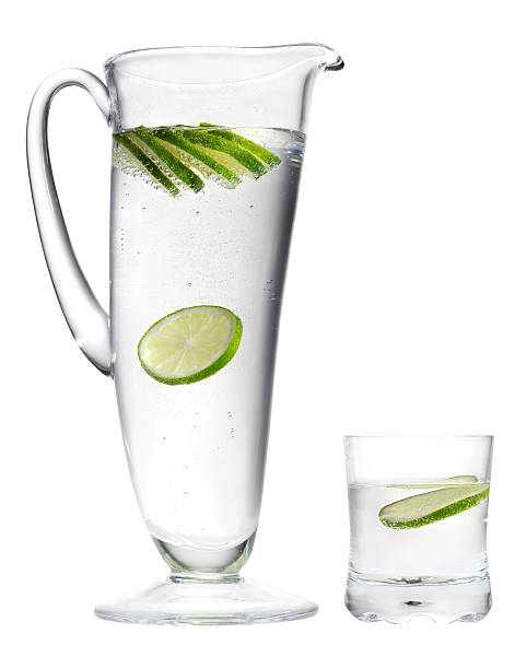 Mineral water and lemon. stock photo