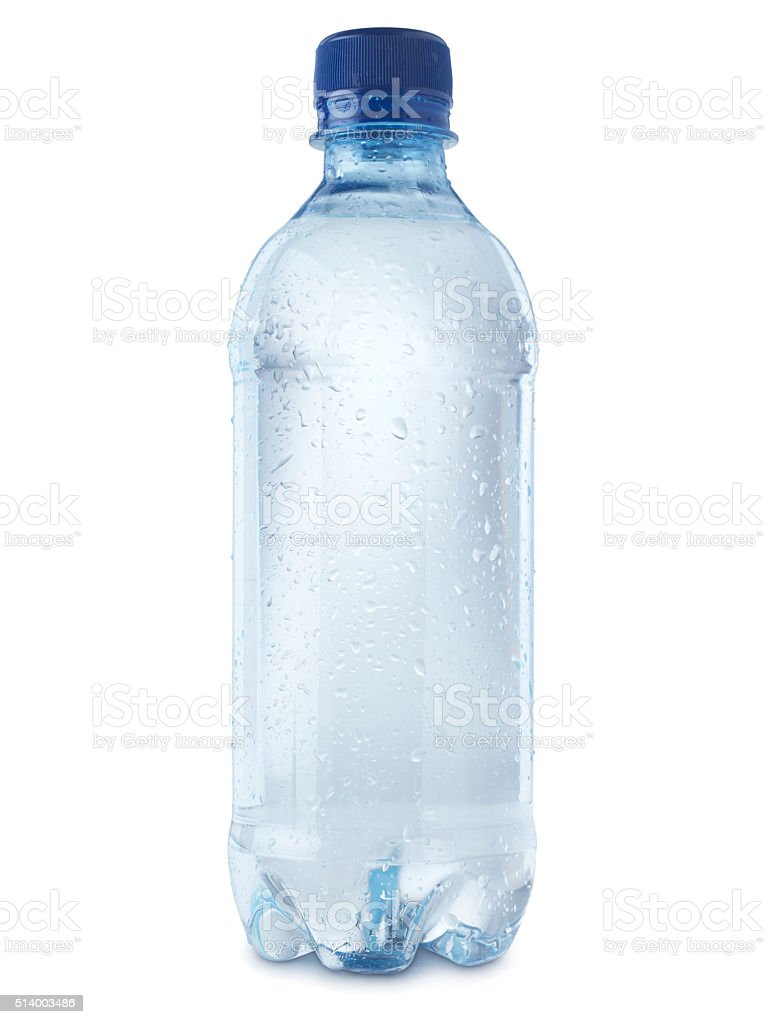 Mineral water bottle cut out on white - Stock Image stock photo