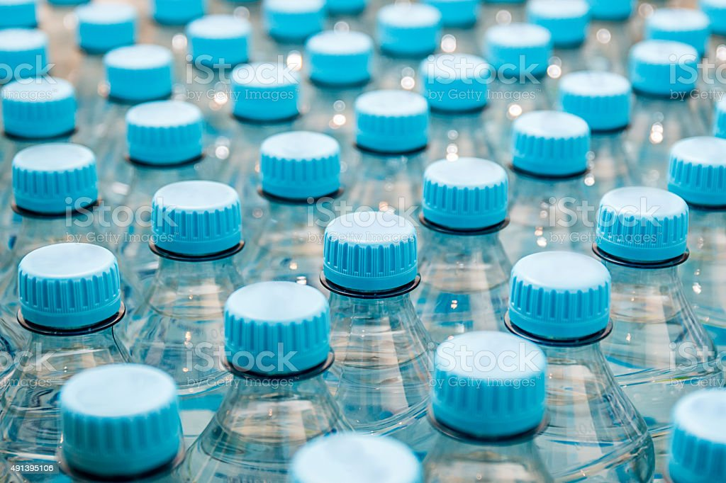 Mineral water bottles - plastic bottles stock photo