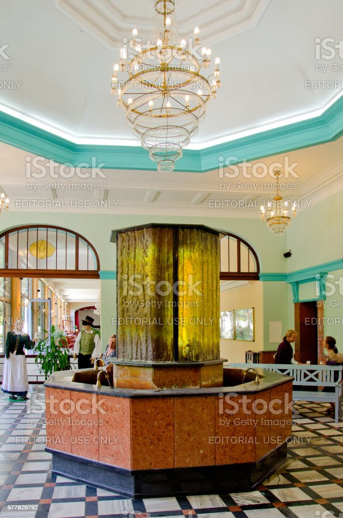 Mineral water drinking room in Polanica Zdroj resort. stock photo