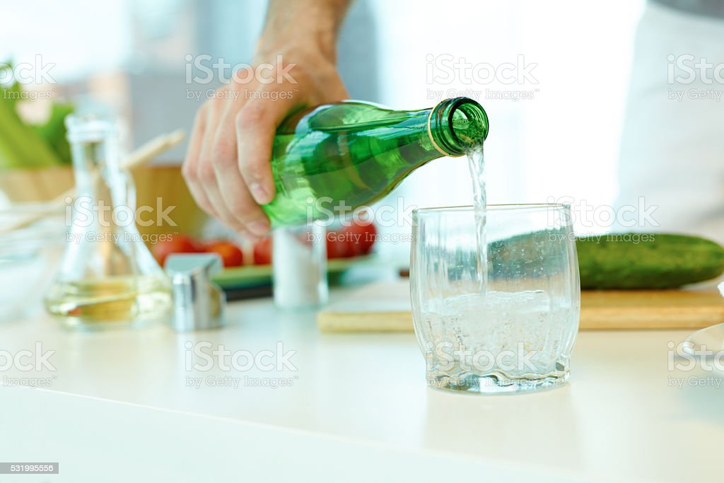 Mineral water in bottle stock photo