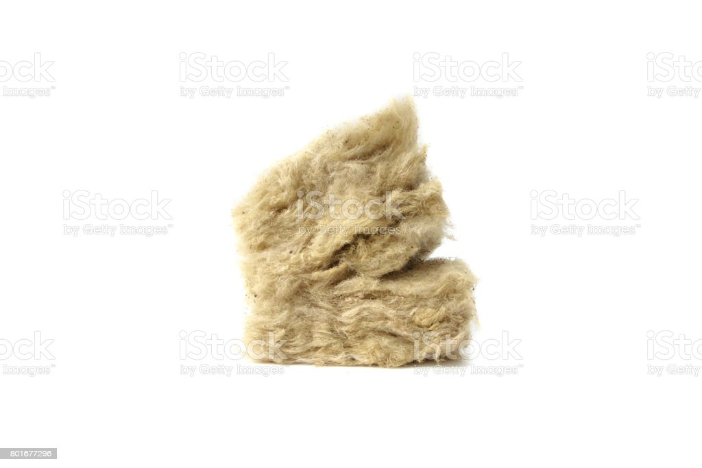Mineral wool for insulation. The fiberglass is isolated on white. stock photo