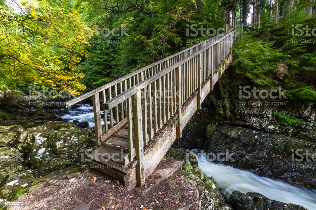 Miners Bridge, wooden crossing in Betws Y Coed stock photo