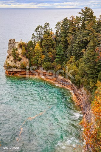 136169151 istock photo Miners Castle ablaze with fall color 639179838