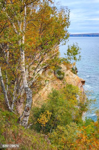 136169151 istock photo Miners Castle ablaze with fall color 639179874