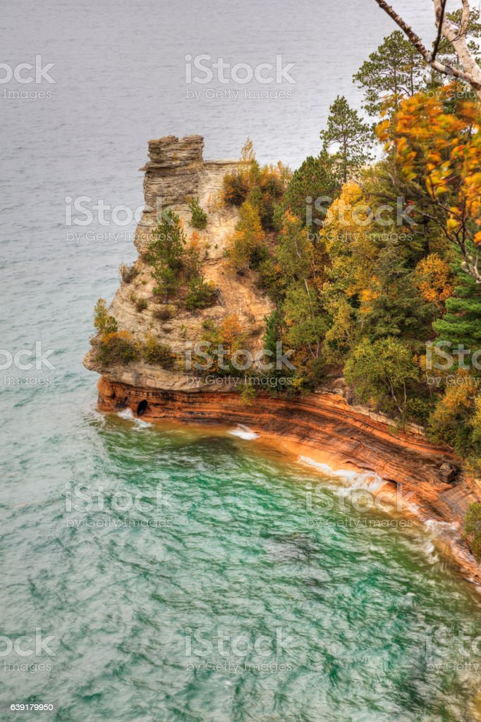 Miners Castle ablaze with fall color stock photo