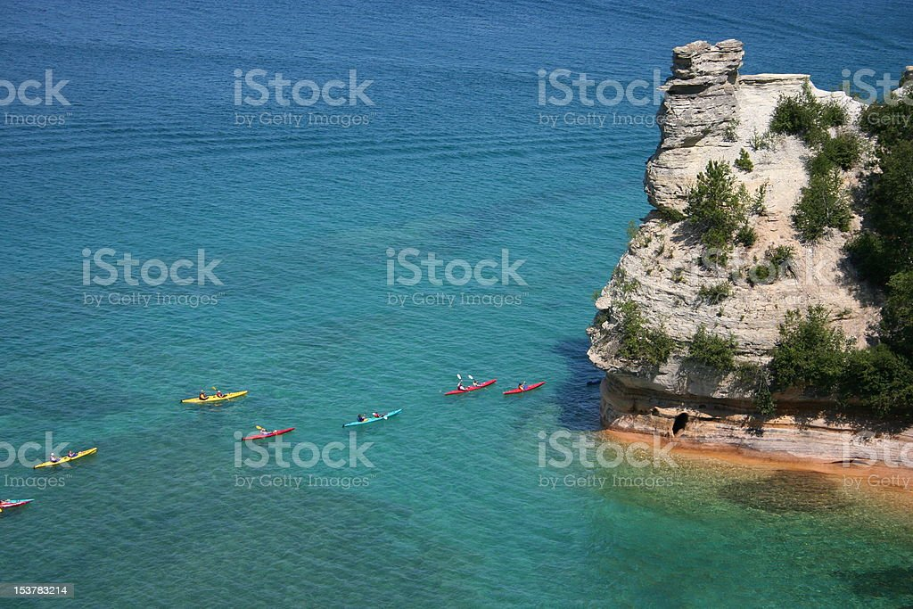 Miners Castle and Sea Kayaks stock photo