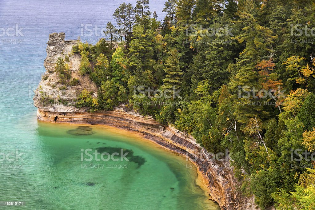 Miner's Castle at Pictured Rocks stock photo