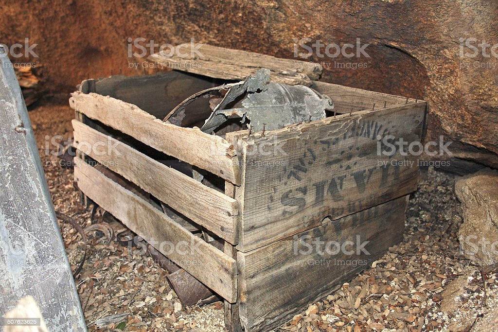 Miners crate stock photo