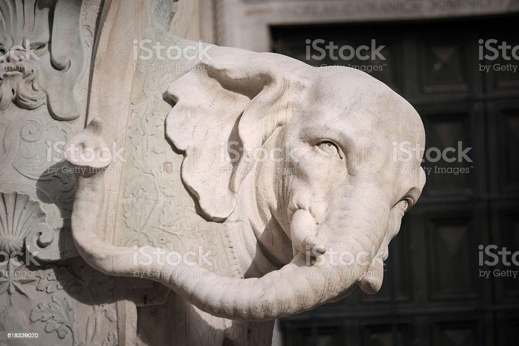 Minerva square, Rome Italy. Macro of marble statue of elephant - foto de acervo
