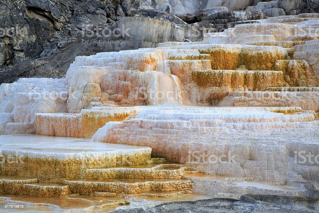 Minerva Terrace in Mammoth Hot Springs stock photo
