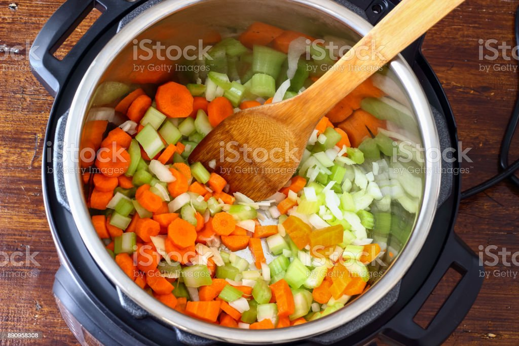 Minestrone Soup made in Instant Pot Pressure Cooker stock photo