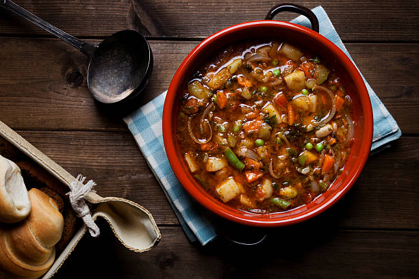 minestrone soup on the pot Traditional Italian cuisine minestrone soup prepared on the pot  vegetable soup stock pictures, royalty-free photos & images