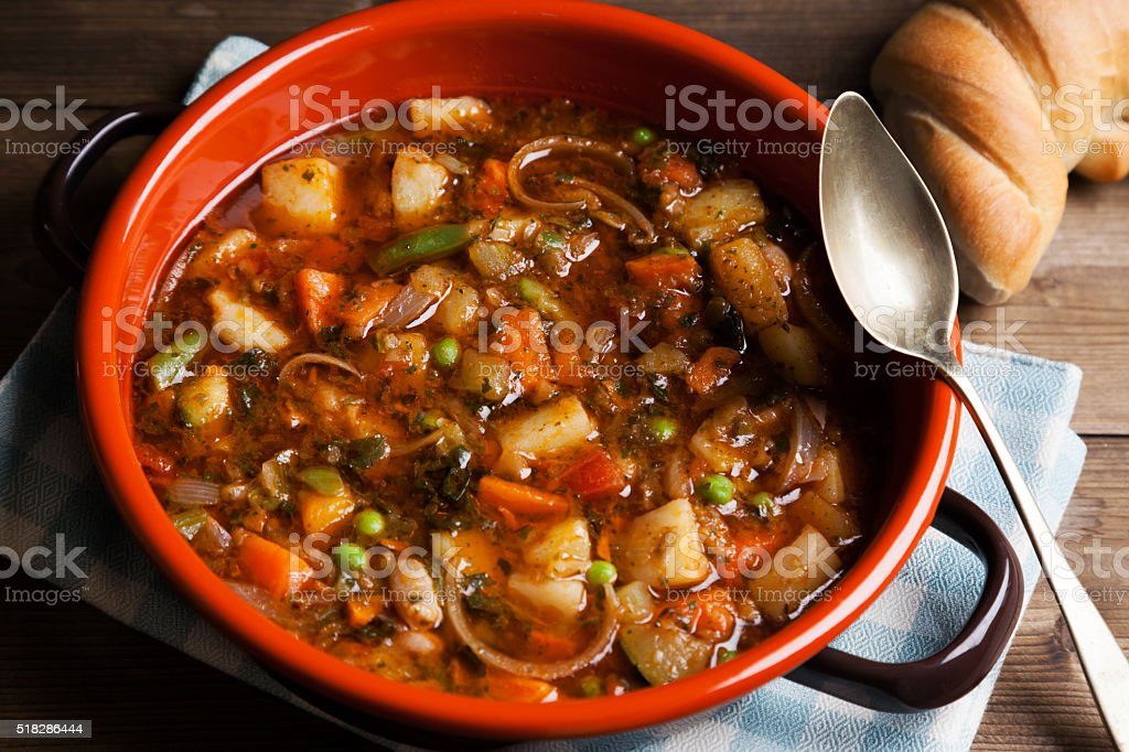 minestrone soup prepared on the pot stock photo